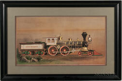 Train, Locomotive, Railroad Illustration, 19th Century, Three Prints and a Drawing.
