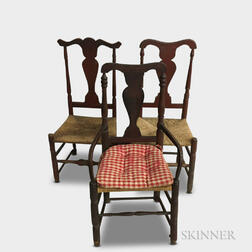 Three Queen Anne Red-painted Side Chairs