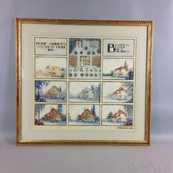 Framed John Bell Jr. Watercolor Architectural Rendering for the Home Owners Association Inc.