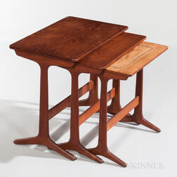 Set of Three Heltborg Mobler Teak Nesting Tables
