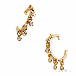 18kt Gold and Diamond Earrings, Dior