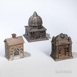 Three Cast Iron Architectural Still Banks