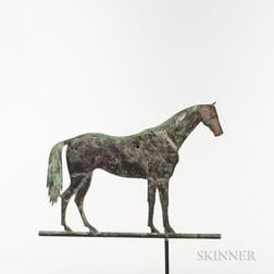 """Rare Molded Sheet Copper and Cast Iron """"Lexington"""" Standing Horse Weathervane"""