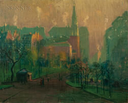 Arthur Clifton Goodwin (American, 1866-1929)      Looking Toward Park Street Church, Boston