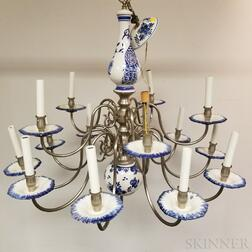 Modern Delft Ceramic Fifteen-light Chandelier