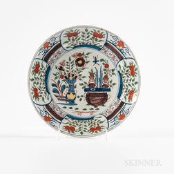 Polychrome Floral-decorated Delft Plate