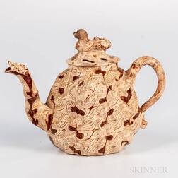 Staffordshire Solid Agate Pecten Shell Teapot and Cover