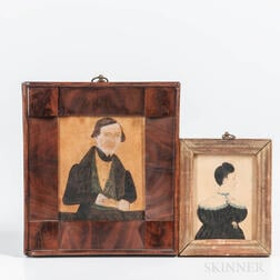 Two Watercolor Miniature Portraits