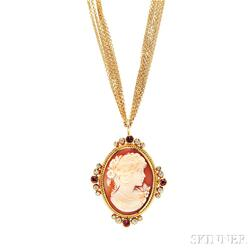 22kt Gold, Shell Cameo, Spinel, and Diamond Pendant/Brooch