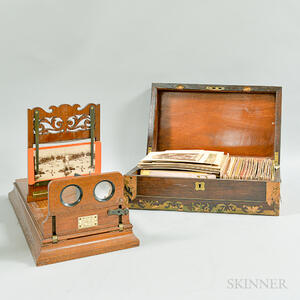 Cased Meagher Walnut Graphoscope, Stereoviews, and Cabinet Cards.