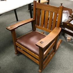 L. & J.G. Stickley Arts and Crafts Oak Armed Rocking Chair