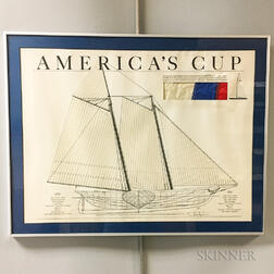 Framed Heritage Editions America's Cup   Lithograph and Liberty   Spinnaker Sail Fragment
