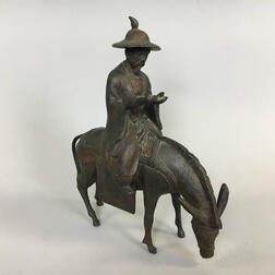 Chinese Bronze Figure of a Scholar on a Mule