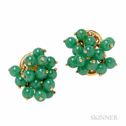14kt Gold and Aventurine Earclips