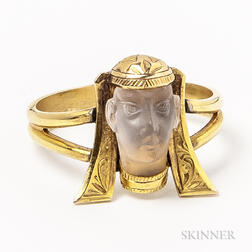 14kt Gold and Carved Moonstone Egyptian Figure Ring