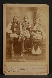 Cabinet Card of a Comanche Chief and Family