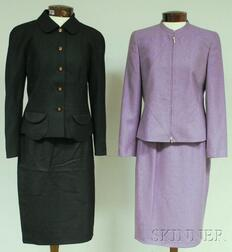 Two Lady's Louis Féraud Wool Two-piece Skirt Suits