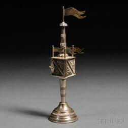 German Silver and Silver Filigree Tower-form Spice Container