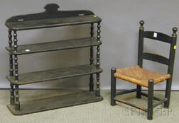 Child's Black-painted Slat-back Side Chair and a Black-painted Tramp Art Thread Spoo   and Wood Graduated Four-tier Wall Shelf