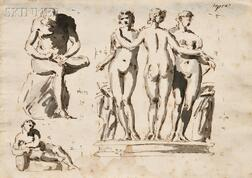 Italian School, Late 18th Century, Page of Figure Studies after Antique Sculpture: Seated Man Removing a Thorn from His Foot, The Three