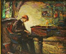 Antonio Cirino (American, 1889-1983)      Interior with Pianist.