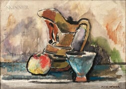 Max Weber (American, 1881-1961)      Still Life with Apple, Jug, and Cup