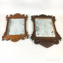 Two Small Chippendale Mahogany Scroll-frame Mirrors