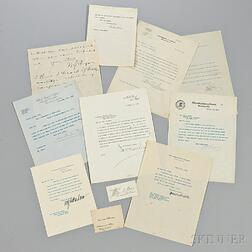 Wilson, Woodrow (1856-1924) Archive Containing One Presidential Signed Letter and Autographs of his Presidential Cabinet.