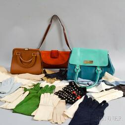 Three Leather Designer Handbags and a Group of Lady's Leather Gloves
