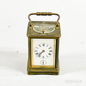 French Brass and Glass Carriage Clock