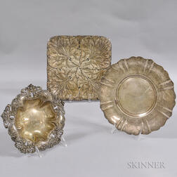 Three Art Nouveau Sterling Silver Trays