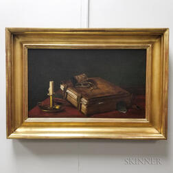 American School, 19th Century       Trompe l'Oeil Still Life with a Book and Chamberstick
