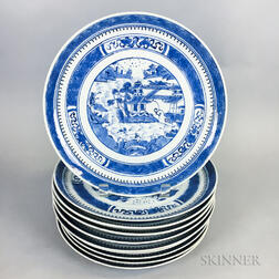 Set of Ten Canton Porcelain Dinner Plates