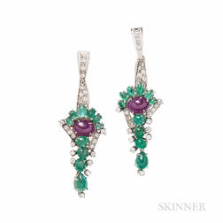 14kt White Gold, Emerald, and Ruby Earrings