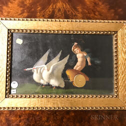 Anglo/American School, 19th/20th Century       Swans Pulling a Chariot and Putto.