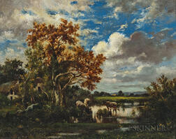 Jules Dupré (French, 1811-1889)      Early Autumn Landscape with Cows Watering