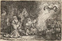 Rembrandt van Rijn (Dutch, 1606-1669)      The Angel Departing from the Family of Tobias