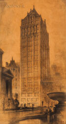 Hugh Ferriss (American, 1889-1962) Architectural Drawing for 24 West 40th Street, New York City, Designed by Buchman & Kahn Architects.