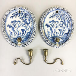 Pair of Delft Ceramic and Brass Wall Sconces