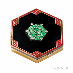 Art Deco 18kt Gold, Enamel, and Jade Compact