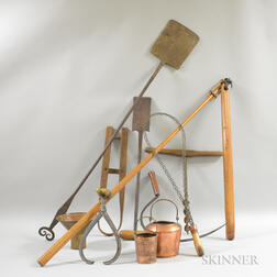 Group of Wrought Iron and Wood Domestic Tools