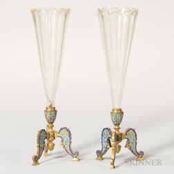 Pair of Gilt-bronze and Champleve-mounted Glass Vases