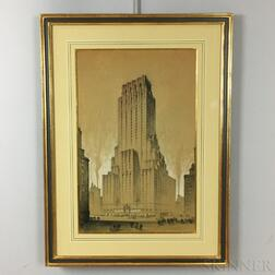 Framed Charcoal and Pencil Art Deco Architectural Drawing