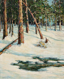 Walter Koeniger (American, 1881-1943)      Sunlit Trees and Brook in Snow