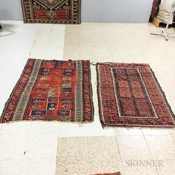 Two Rug Fragments and a Baluch Rug