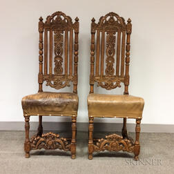 Pair of Baroque-style Oak Side Chairs with Leather Seats