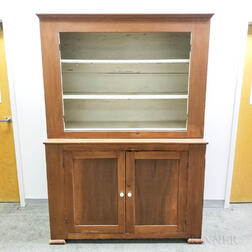 Large Country Pine Two-part Cupboard