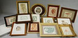 Carol Lummus (American, 20th/21st Century)      Sixteen Small Framed Etchings and Embossed Works on Paper:
