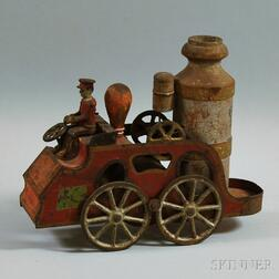 Antique Wood and Sheet Metal Friction-driven Fire Pumper Wagon Toy