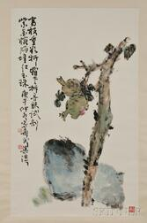 Hanging Scroll Depicting a Pomegranate Branch
